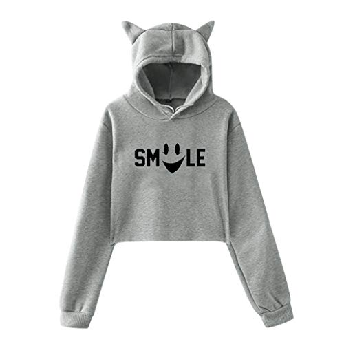 NANTE Top Loose Women's Blouse Smile Print Cat Ears Lumbar Fleece Hooded Sweatshirt Bare Midriff Short Shirts Womens Tops (Gray, S)