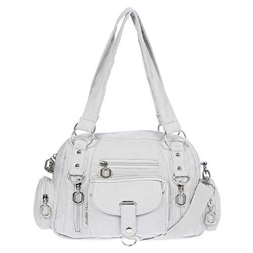 Christian Wippermann Damenhandtasche Schultertasche Tasche Umhängetasche Canvas Shopper Crossover Bag (Hellgrau)