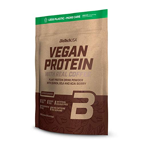BioTechUSA Vegan Protein Flavoured Plant Protein Drink Powder with Goji and acai Berry Powder and Quinoa Flour, 2 kg, Coffee