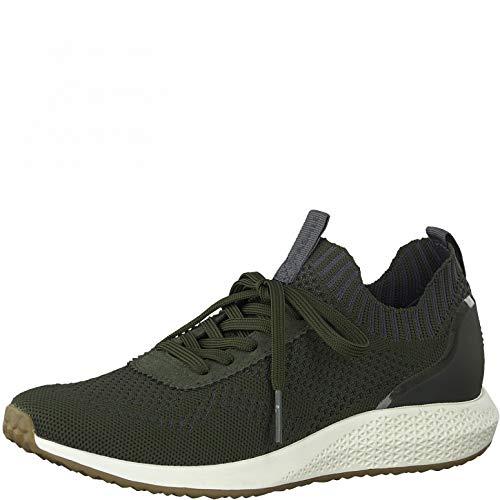 Tamaris Mujer Zapatillas, señora Bajo,Plantilla Desmontable,Cuña de tacón,Zapatos Bajos,con Cordones,Zapatos de Calle,Olive,38 EU / 5 UK