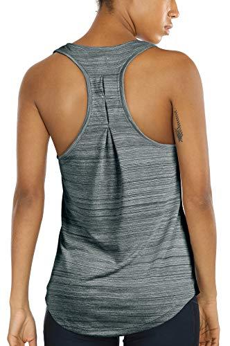icyzone Camiseta sin Mangas de Yoga para Mujer Chaleco Deportivo (M, Pino)