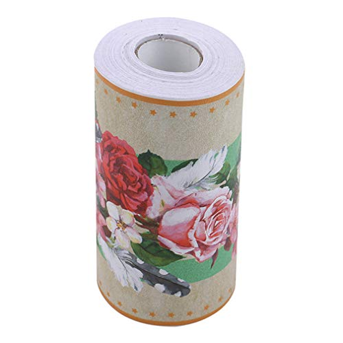 #N/A Ristiege - Papel pintado autoadhesivo de PVC para pared, diseño de flores, color negro