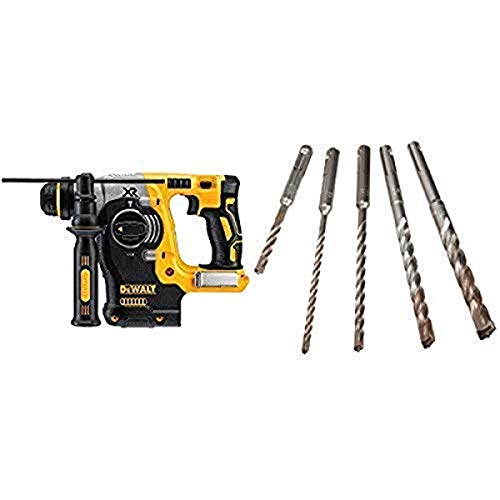 DEWALT DCH273B 20v Max Brushless SDS Rotary Hammer (Tool Only) with DEWALT DW5470 5-Piece Rock Carbide SDS Plus Hammer Bit Set