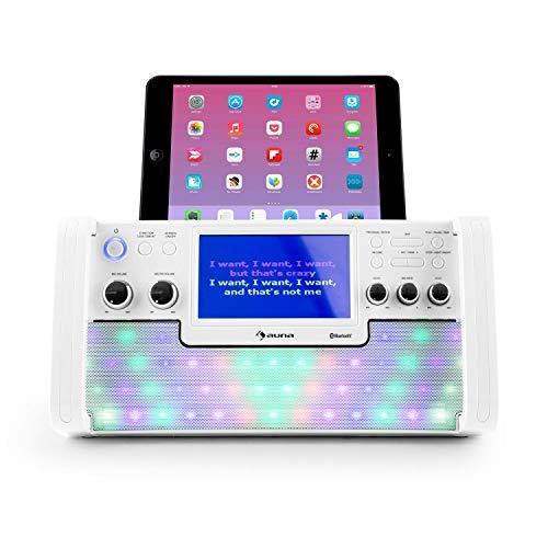 AUNA DiscoFever LED - Chaîne karaoké, Microphone Filaire Dynamique, Ecran Couleur TFT, Fonction...