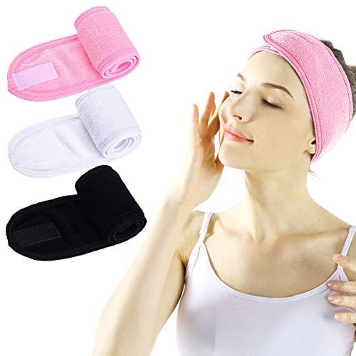 Haarband für Make Up - 3 Stück Spa Stirnband mit Klettverschluss Kosmetik Stirnband Frottee Verstellbare Haarschutzband für Sport Yoga (Schwarz + Weiß + Pink)