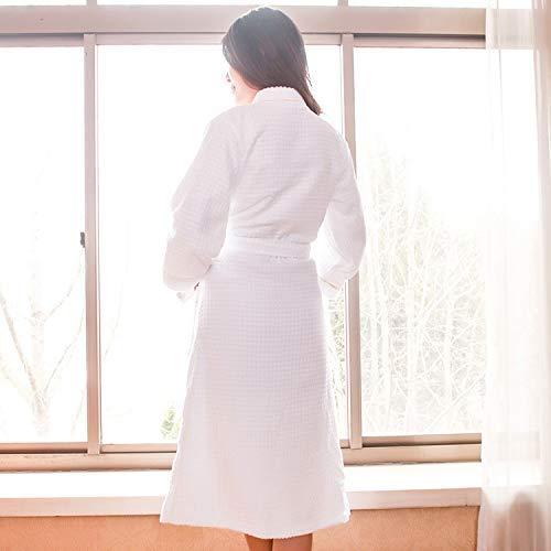 HeiPlaine Süße Nachtwäsche Plaid Jacquard Bademäntel Hotel Unisex (Farbe: Weiß, Größe: XXL) Sexy Nachthemd (Farbe : White, Größe : Medium)