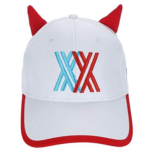 CoolChange Darling in The FranXX Basecap mit Zero Two Hörnern, Weiß