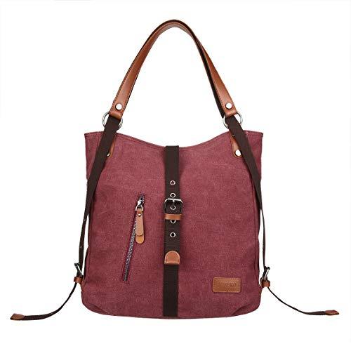 JOSEKO Canvas Tasche Handtasche, Damen Schultertasche Rucksack GroßVintage Umhängentasche Shopper für Alltag Büro Schule Ausflug Einkauf Lila Kaffee