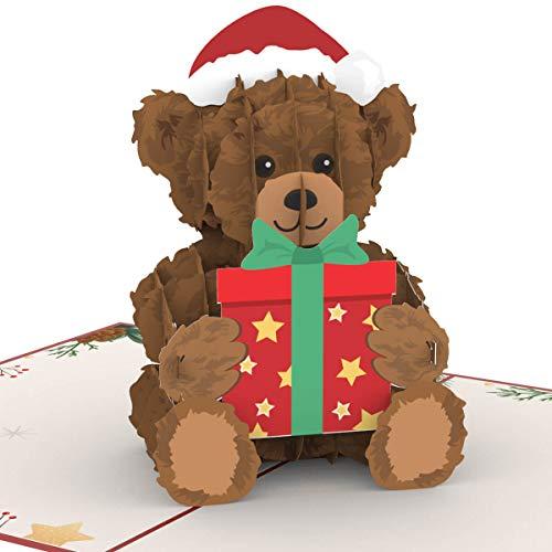 PaperCrush Pop-Up Karte Weihnachten Teddybär - Süße 3D Weihnachtskarte mit Teddy für Sie (Frau, Freundin, Mutter) - Handgemachte Popup Weihnachtsgrußkarte für Frauen und Kinder