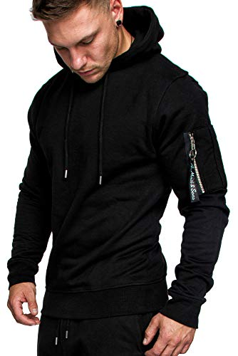 Amaci&Sons Herren Cargo-Style Pullover Sweatshirt Hoodie Sweater Camouflage 4003 Schwarz M