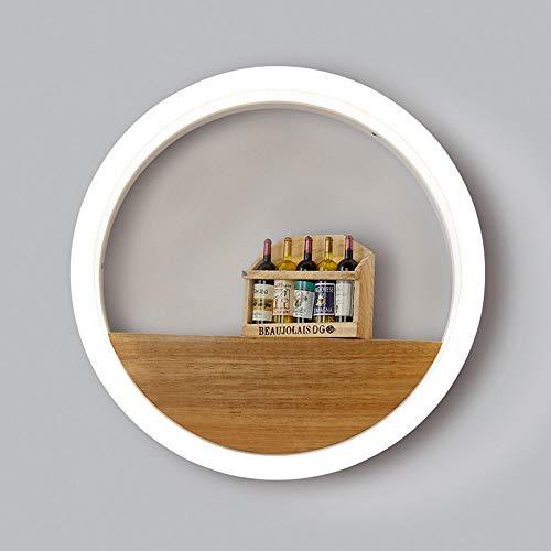 B-D Creatieve ronde led-wandlamp, moderne acryl, houten decoratie, wandlamp, bedlampje, slaapkamer, toilet spiegel, schijnwerper