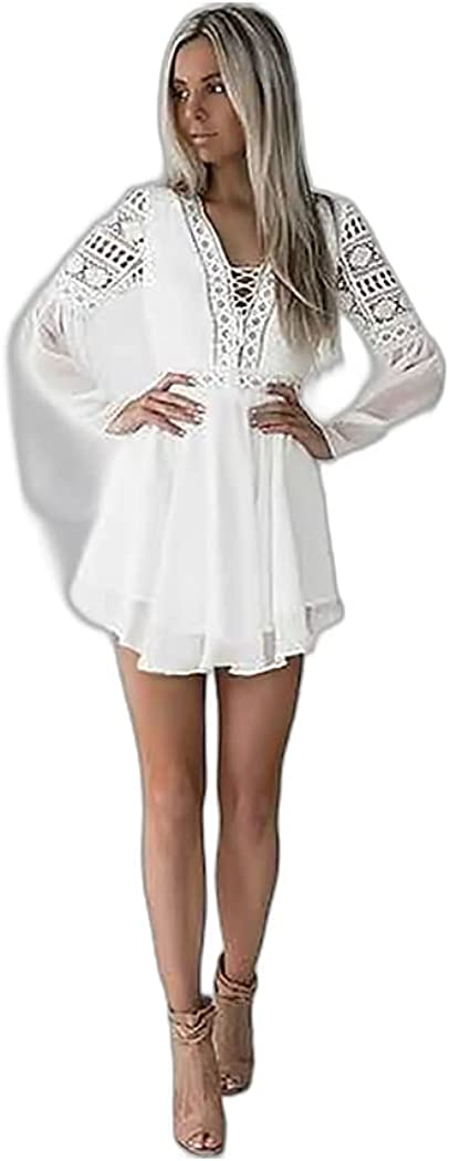Women's A Line Dress Short Mini Dress White Black Long Sleeve Solid Color Mesh Lace