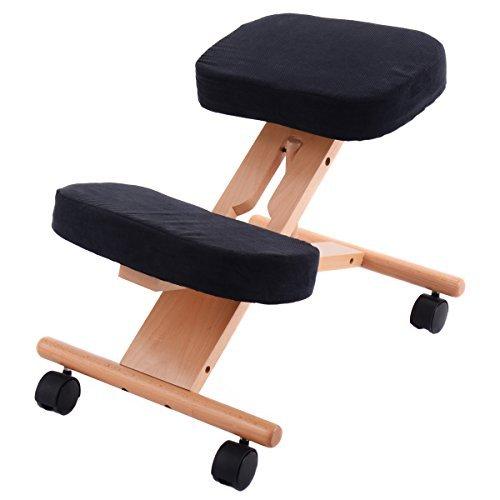 CASART Ergonomic Kneeling Chair, Adjustable Wooden Frame Kneeler Stool, Office Home Orthopaedic Posture Chairs (Black)