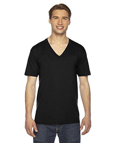 American Apparel Unisex Fine Jersey Short Sleeve V-Neck, Black, Medium