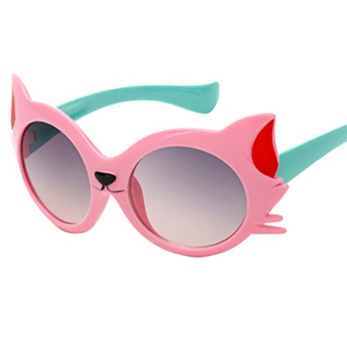 Gafas de Sol Bebe Niña, Zolimx Bebé Niño Gafas de Sol NiñO Gato Historieta UV400 de 3-12 Años (Rosa)