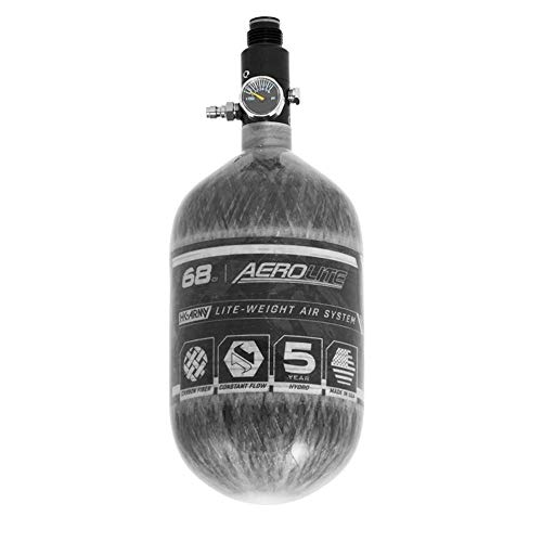 HK Army Aerolite HPA Paintball Tank Air System – 68ci/4500psi, Clear Carbon