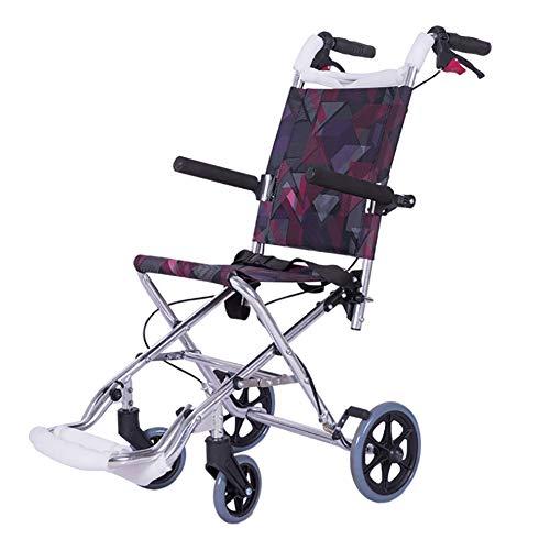 KOSHSH Ultra-Lichght-Faltrollstuhl, Deluxe-Attendant Selbstfahrer-Transportgerät bis 100 kg mit Tall Handles Portable Wheelchair für die Unabhängigkeit oder Caretaker Convenience