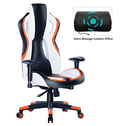 HEALGEN Gaming Chair Racing Style High-Back PU Leather Office Chair PC Desk Chair Executive and Ergonomic Swivel Chair (907 Orange) chair gaming orange