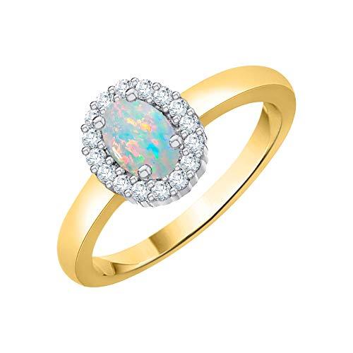 Katarina - Anillo de halo de diamante y ópalo de corte ovalado en oro de 14 quilates (1/2 quilates, J-K, SI2-I1)