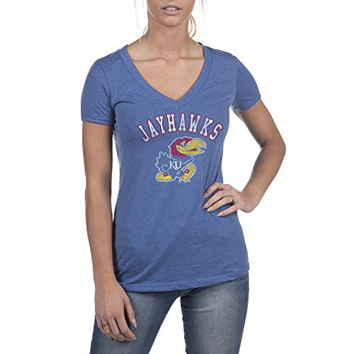 Top of the World Kansas Jayhawks Women's Short Sleeve Deep V-Neck Distressed Mascot Arch Tee, Royal, Large
