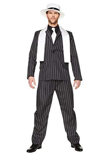 Karnival Costumes Costume in maschera da boss gangster per uomo, vestito gessato da mafioso in stile anni 20