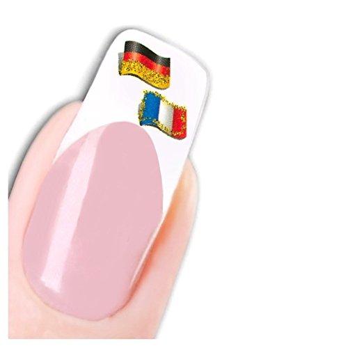 JUSTFOX - tattoo nagel sticker Duitsland Frankrijk vlag voetbal vlag nail water decal
