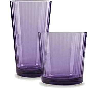 Circleware 44816 Spectrum Plum Huge Set of 16 Drinking Glasses, 8-17oz and 8-13oz. Double Old Fashioned Whiskey, 16 pc set