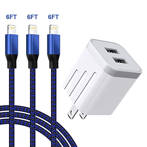 iPhone Charger 3Pack 6FT Nylon Braided Cable and USB Wall Adapter Plug Block Compatible iPhone 11 Pro Max XS XR X 8 7 Plus
