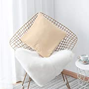 Home Brilliant Cream Pillowcases Square Soft Velvet Solid Throw Pillow Covers Decorative for Bed Sofa Chair Babies Office Lounge, 18x18 inches(45x45cm), Beige