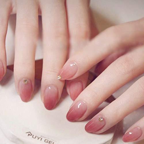 Sethexy Lustroso Uñas falsas Elegante Rosado Gradiente Corto Cobertura total Acrílico 24 piezas de uñas falsas...
