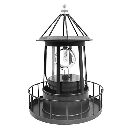 Retro LED Solar Rotating Lighthouse Beacon Lamp , Outdoor Waterproof Garden Solar Hanging Lantern for Patio Fence Garden Decoration- 1pc (1521cm)