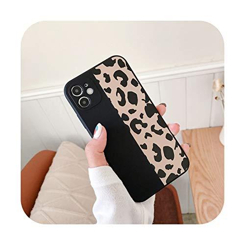 Moda Square Leopard Print teléfono caso para iPhone 12 11 Pro Max X XR XS Max 8 7 Plus suave a prueba de golpes contraportada para iPhone 12-T2-para iPhone 12 Mini