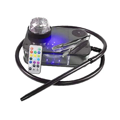 Moderno Acrílico Cachimba Kit Completo Portátil Shisha Nargile Fumadores De Pipa De Agua Con Led De Control Remoto Caja De Luz (negro), Para Interiores Y Exteriores