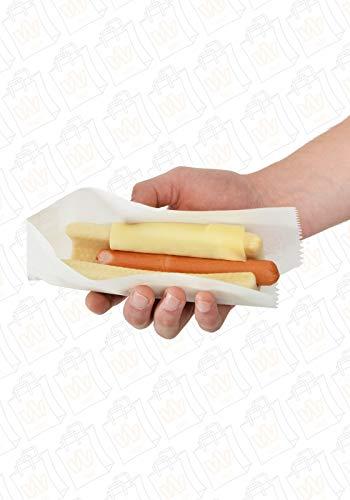 Hot Dog-Tüten, 8x20 cm, fettdicht, Baguette – Tüte, Taco – Tüten, Wrap - Tüte, weiß, unbedruckt, Größe 100 Stück