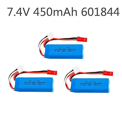 rpbll 7,4 V 450 mAh 601844 20C Lipobatterie 2S für WLtoys K969 K989 K999 P929 P939 RC Car-1 Stück