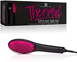 Brilliance New York - Thermal Styling Brush, 3-in-1 Straightener, Detangling Brush, and Hair Massager, Black and Pink