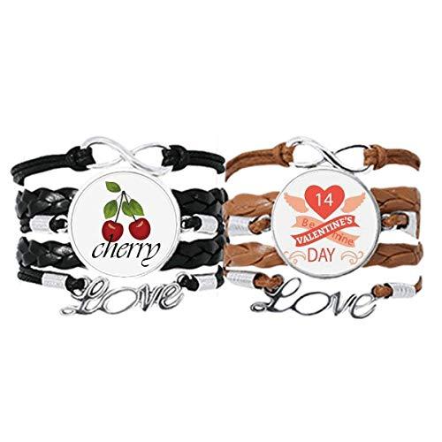 Bestchong Pulsera de piel con cuerda de piel para el día de San Valentín, color rojo