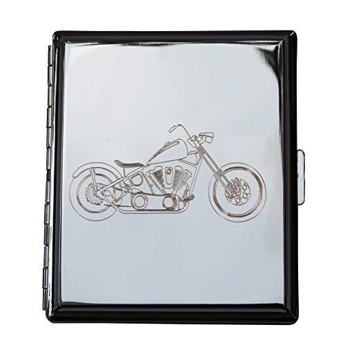 Edles Zigarettenetui Silberfarbig - Gravur Motorrad/Chopper: Mit SOFORTGRAVUR + VORSCHAU: Gravur des Vorname oder die Initialen in Schreibschrift oder Druckschrift inklusive