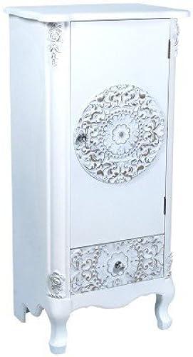 Art Deco Home - Kommodenschrank mit 1 Schublade, Rosatte, Weißs, 100 cm - 14779SG