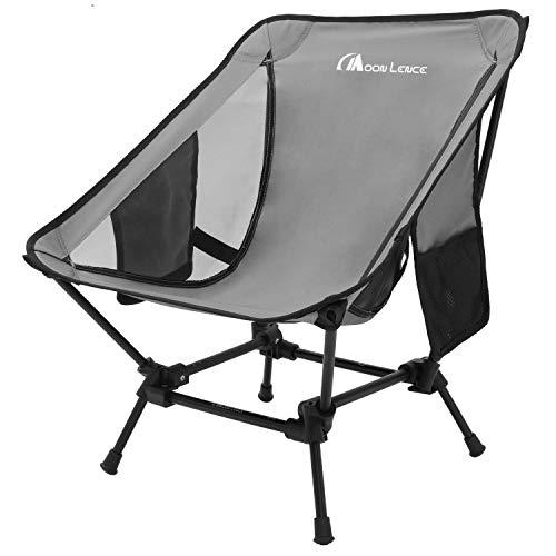 Moon Lence アウトドアチェア 2wayローチェア より安定 キャンプ椅子 グランドチェア 軽量 折りたたみ コンパクト ハイキング お釣り 登山 耐荷重150kg (グレー)