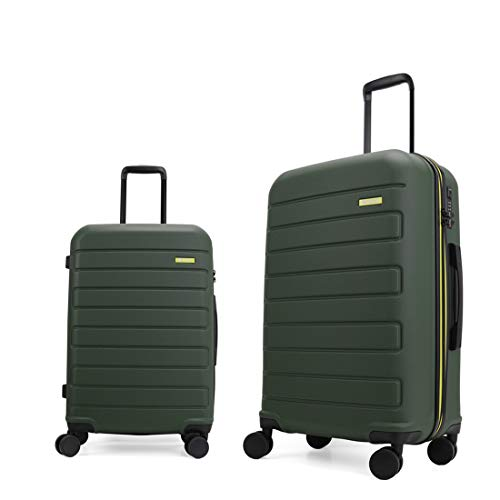 GinzaTravel Hardside Spinner, Carry-On, Wear-resistant, scratch-resistant Suitcase 20''and 28''set Luggage with Wheels (2-Piece Set, Dark green)