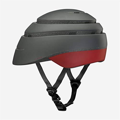 Closca Casco de Bicicleta para Adulto, Plegable Helmet Loop. Casco de Bici y Patinete Eléctrico/Scooter para Mujer y Hombre Unisex. Negro/Vino, Talla L