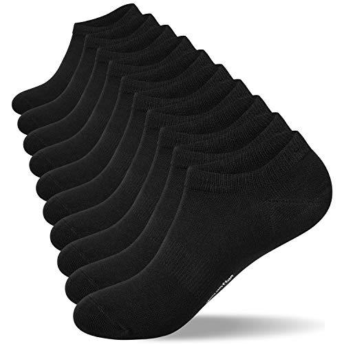 coskefy Sneaker Socken Herren 43-46 39-42 35-38 47-50 Damen Sportsocken 10 Paar Baumwollsocken Schwarz Weiß Grau Kurz Atmungsaktive Laufsocken