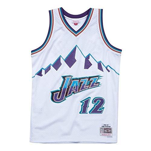 HJSW Maglia da Basket NBA Uomo, Vintage Swingman Jersey, 12 Utah Jazz John Stockton, Maglie Canotta NBA Tuta da Basket Pallacanestro Uniforme, XS-XXL (Size : M)