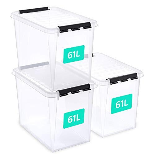 SmartStore aufbewahrungsbox mit deckel groß, 61 l, 3er-Pack, verstärkt, transparent, für Lebensmittel geeignet, mit Clipverschluss, stapelbar, BPA-freies Plastik, 59 x 39 x 43 cm (L x B x H)