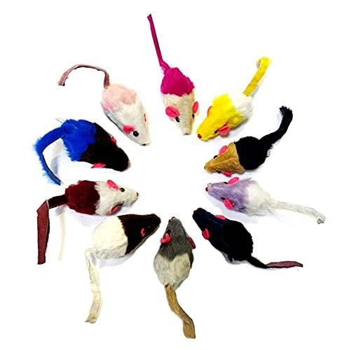 Set di 10 mouse da gioco con campana e erba gatta Giocattolo per gatti, topo in peluche con catnip con campanello, giocattoli interattivi per animali domestici per gatti per gattini
