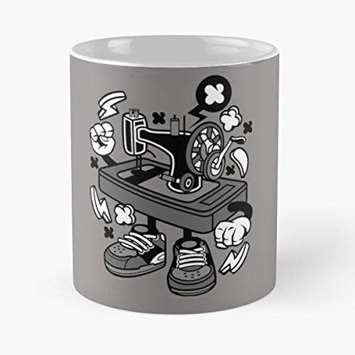 Sewing Cartoon Painted Children Funny Unique Machine I Fsgrebecca-Best 11 oz Coffee Mug holds hand made from White marble ceramic !