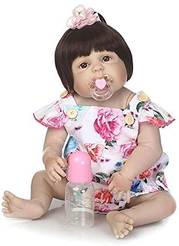 DFGBXCAW 56Cm 22 Pulgadas muñecas de bebé realistas Reborn muñeca marrón niña recién Nacida, Buena compañera del niño Madre Buena ayudante muñeca Juguete simulación Renacimiento muñeca