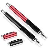 MEKO スタイラス タッチペン2本 +交換用ペン先6個 iPhone iPad Android タブレット (ブラック/レッド)