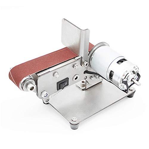 Mini Lijadora de Banda Lijadora de Lijado Eléctrica Pulidora de Mesa Ajustable Afilador de Ángulos Mesa Doméstica Carpintería Eléctrica